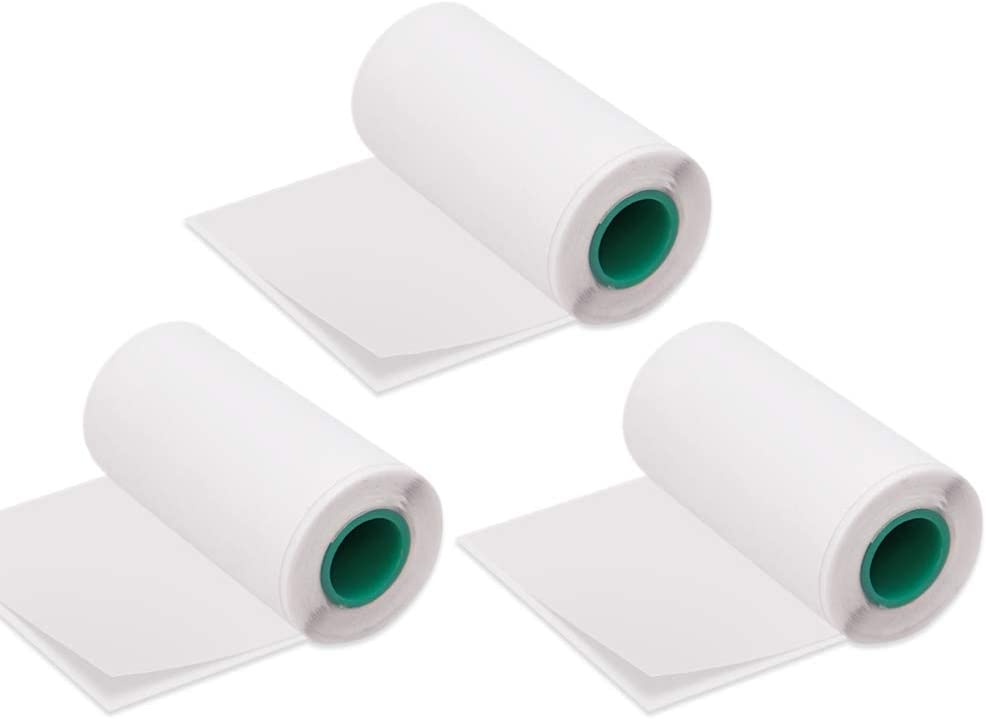 Aibecy Rollo de papel térmico adhesivo 56 * 30mm/2.2 * 1.2in Etiquetas de etiqueta adhesiva de fuente negra sin BPA para Peripage A6 / A8 / P6 Paperang P1 / P2 Impresora térmica Paquete de 3 rollos