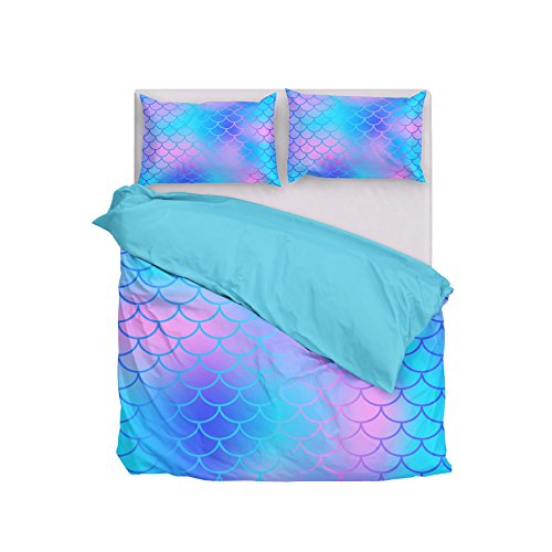 Dream Bay 3 Piece Duvet Cover Set Blue Mermaid Fish Scales Bed Sheet 1 Duvet Cover with 2 Pillow Shams Soft Breathable 110 GSM Microfiber, Queen Bay Duvet Cover Set