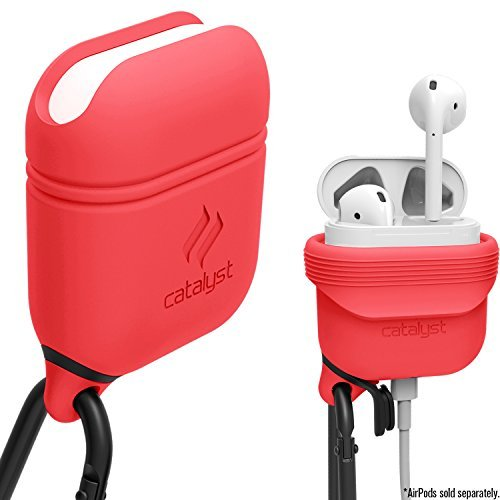 Waterproof Airpods Case Cover by Catalyst, Shockproof and Drop Proof air pods Protective Cover Soft Skin, Anti-Lost Carabiner, Silicone Sealing, Charging -Apple Earbuds Accessories, Coral