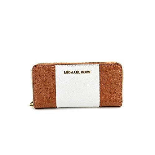 MICHAEL Michael Kors Womens Jet Set Travel ZA Continental Wallet, Luggage/White/Black, One Size
