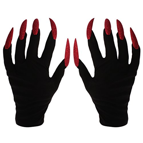 Prettyia Scary Devil W/ Red Glitter Nails Halloween Party Gloves Costume Fancy -