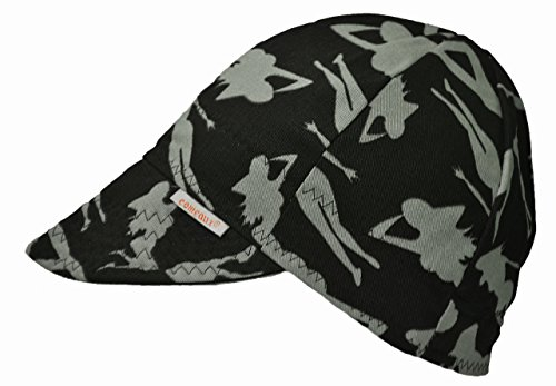 Black/Gray Comeaux Caps Reversible Welding Cap Silhouette Size 7 5/8