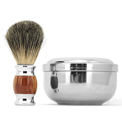 Luxury 100% Pure Badger Hair Wet Shaving Brush + Mug Bowl Men Shave Razor Kit