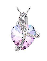 Angelady Eternity of Love Purple Heart Pendant Necklace of Swarovski Crystal Love Necklace for Her Gift