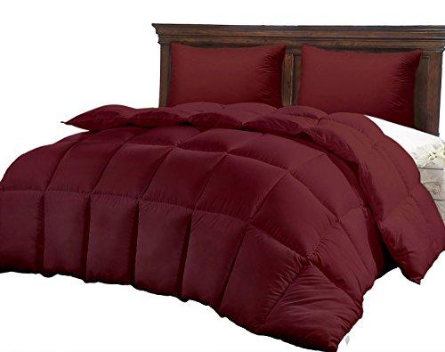 Burgundy Luxury Quilted Comforter for Women, Hypoallergenic Microfiber One-Piece Set, Fluffy Hotel Reversible Duvet Insert, -Winter Softer Than Goose Alternative Down Comforters ()