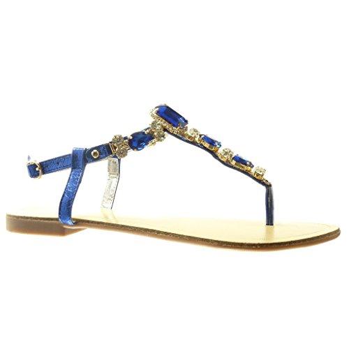 Angkorly - Scarpe da Moda sandali infradito cinturino donna gioielli strass fantasia Tacco tacco piatto 1.5 CM - Blu