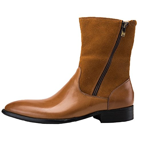 with Western Santimon Men's Leather Boots High Work Top Toe Nubuck Pointed yellowish Cowboy Zipper brown Double TfTxXP