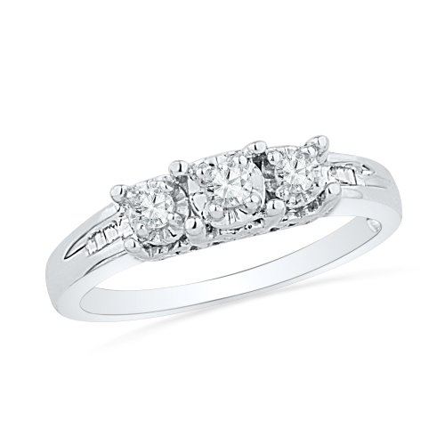 - D-GOLD Sterling Silver Baguette and Round Diamond Three Stone Ring (1/6 cttw)