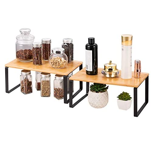 Kitchen 2 Pack Stackable and Expandable Counter Shelf Organizer, Bamboo Kitchen Cabinet Spice Rack with 2 Pack Automatic Gravity… spice racks