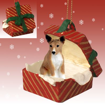 BASENJI-Dog-sits-in-a-RED-Gift-Box-Christmas-Ornament-New-RGBD70
