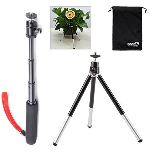 EEEKit 2in1 Kit for VTech Kids Kidizoom Action Cam/Gopro Hero 7/6/5/4/3/2, Extendable Handheld Telescopic Self Portrait Tripod Monopod and Aluminium Monopod Stand Mount