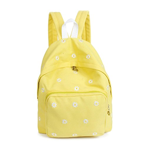 Teenager Girls Travel School Casual Bag Yellow Embroidery Yellow Dabixx Backpack Female Canvas Flower wEvY1xxqC
