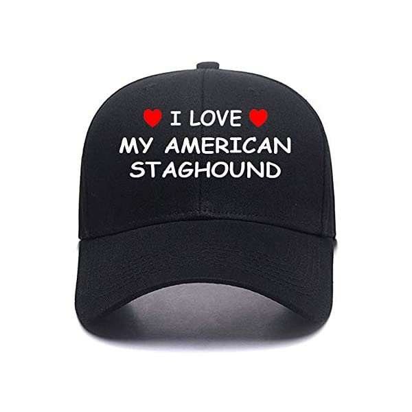 I Love My American Staghound Personalized Gift Cotton Any Color Custom Caps Custom Hats 1