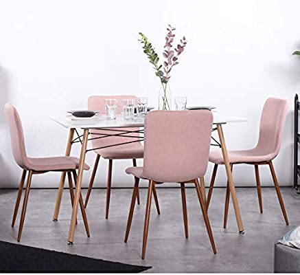 Amazon Com Homy Casa 1 Set Of 4 Dining Chair Pink Chairs