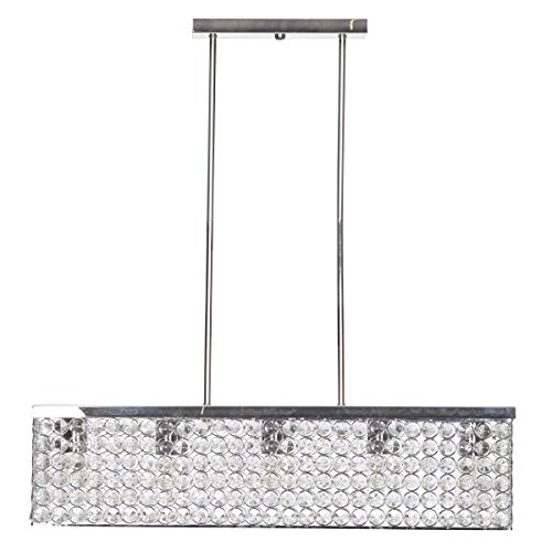 32 Inch Linear Pendant Chrome Finish Caged Crystal Shade