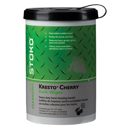 Stoko Kresto Cherry Kwik-Wipes - 70 ct. Canister -(1 CASE OF 6) by Stoko Skin Care