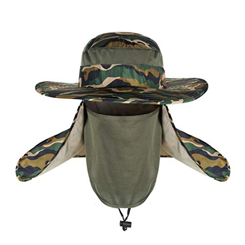 (minRan Wide Brim Bora Booney Outdoor Safari Summer Outdoor Mesh Sun Hat Wide Brim Fishing Hat with Neck Flap)