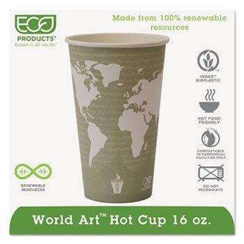World Art Renewable Compostable Hot Cups, 16 Oz., 50/pk, 20 Pk/Ct