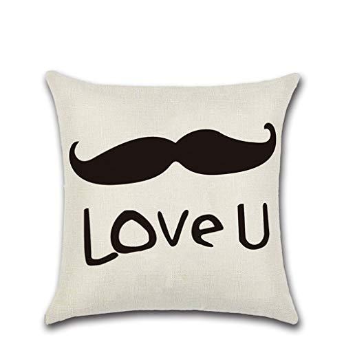 (Ai Ya-baozhen Linen Lovers Series 1 Red Lips Beard Pillow Valentine's Day Mrmrs Rumors Pillow Case Cushion Cover, T)