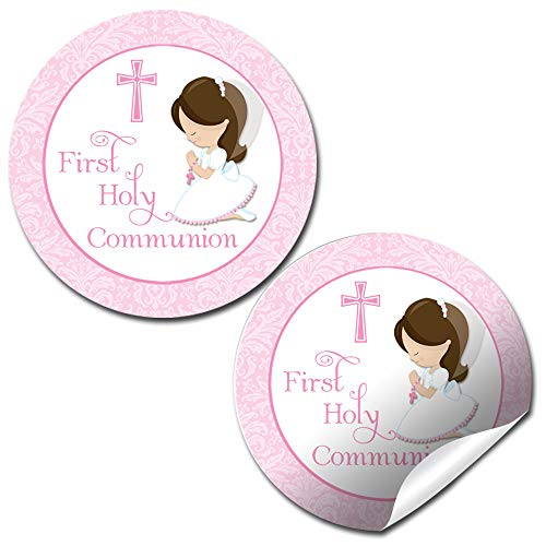 First Holy Communion Religious Thank You Sticker Labels for Girls, 40 2