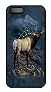 iPhone 5S Case and Cover -Exalted Ruler Elk PC Hard Plastic Case for iPhone 5/5S Black