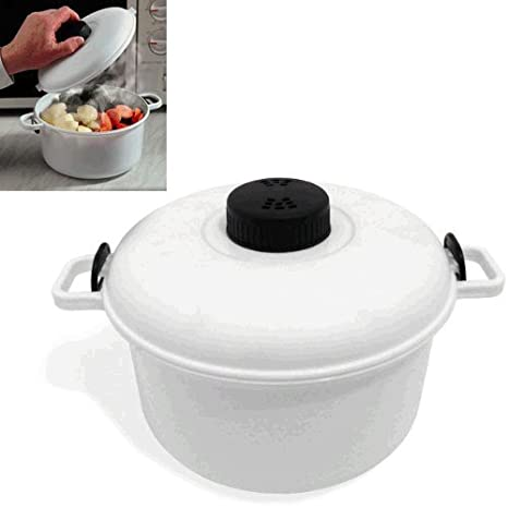 Olla para microondas con capacidad de 2,85 litros y vaso medidor .: Amazon.es: Hogar