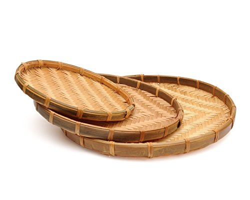 Set of 3 Vietnam Traditional Handmade Round Rattan Wicker Serving Basket ()