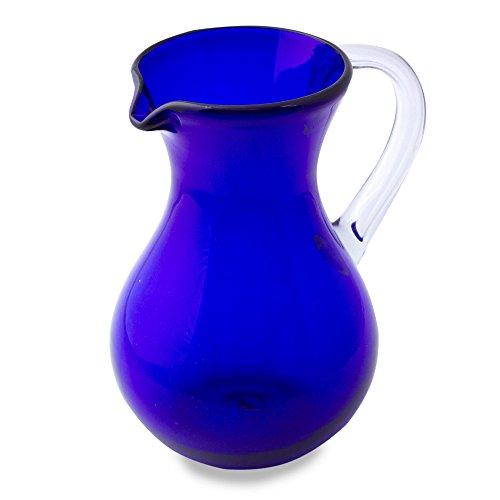 Cobalt Blue Pitcher (NOVICA Cobalt Blue Eco-Friendly Recycled Hand Blown Glass Pitcher, 67 oz., 'Ever Blue')