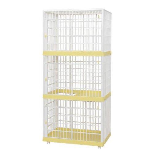 IRIS 3-Tier Plastic Cat Cage, Yellow/White (Yellow)