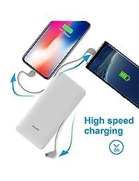 Batería externa ultra fina con cable de carga integrado, enchufe de CA, puertos USB compatibles con iPhone, Samsung Galaxy y más (blanco) de 10000 mAh