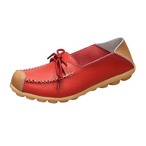 Women Casual Peas Shoe,Kauneus Women Bowknot Flat Breathable Soft Bottom Wild Leisure Peas Boat Shoes Red