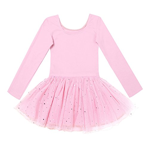 CHICTRY Girls Kids Classic Long Sleeve Leotard Shiny Sequins Mesh Skirted Dance Ballet Dress Pink 2