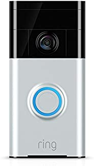 Ring Video Doorbell (1st Gen) – HD video, motion activated alerts, easy installation – Satin Nickel