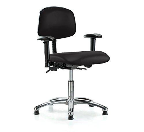 (PERCH Chrome Multi Task Swivel Chair with Stationary Caps, Desk Height, Black Vinyl)