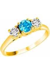 Ryan Jonathan 14K Gold Round 3 Stone Blue Topaz and Diamond Ring (0.95 cttw)