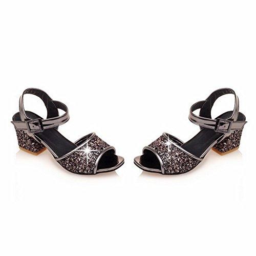 AdeeSu Black Peep Kitten Heels SLC03762 Urethane Studded Sandals Womens Toe FSwq7x4Fa