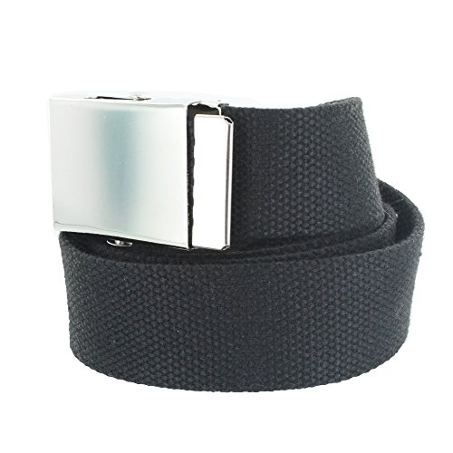 Faddism Men's Military Style Canvas Web Belt - Black - Canvas Belt Zebra