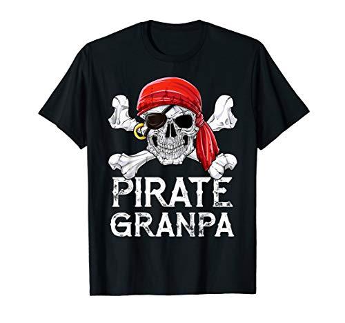 Pirate Grandpa T shirt Jolly Roger Skull & Crossbones -