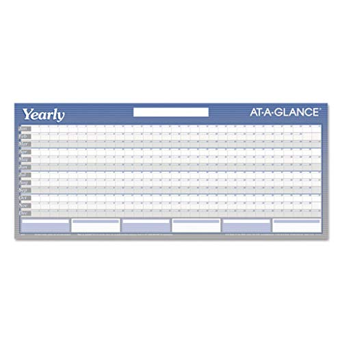 AAGA177 - Sheet Size : 60 x 26 - Visual Organizer Write-On/Wipe-Off Five-Foot Dated Yearly Wall Planner - Each