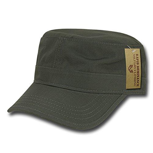 Olive Drab Plain Solid Blank Army GI Military Flat Cotton Cadet Castro BDU Ripstop Patrol Cap Hat ()