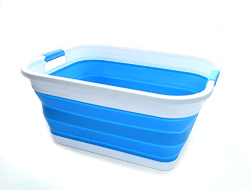 (SAMMART Collapsible Plastic Laundry Basket Set - Foldable Pop Up Storage Container/Organizer - Portable Washing Tub - Space Saving Hamper/Basket (2, Sky Blue))