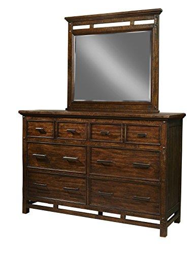 Landscape Beveled Dresser Mirror - Intercon Wolf Creek Vintage Acacia 6 Drawer Dresser w/ Landscape Mirror