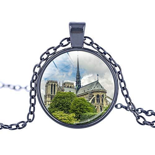 Haluoo Notre Dame de Paris Cathedral Vintage Steampunk Style Glass Jewelry Pendant Necklace Cabochon Glass Bronze Charm Pendant Necklace – Includes 20″ Chain (G)