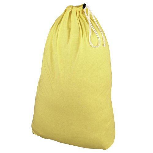 (Household Essentials Polyester Jersey Drawstring Laundry Bag with Cordlock, Pastel Yellow )
