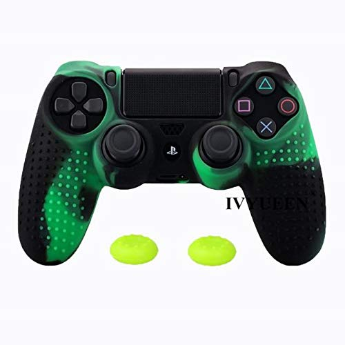(2PCs Anti-Slip Silicone Cover Skin Dualshock 4 PS4 Pro Slim Controller Case & Stick Grip Play Station 4 Black Green PS4 Controller Covers - Silicone Skin, Silicone Cover A767)
