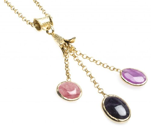 24K Yellow Gold Plated Onyx Chalcedony Natural Three Stone Black Purple Pink Multi Shape Pendant Necklace (Multi Strand Marcasite)