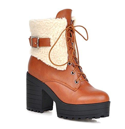 Damenstiefel Fashion Gelb High Plateau Blockabsatz Winter 9cm Schnürstiefeletten Heel Warm Gefütterte Herbst Fell Absatz Elegant mit YE 1ZHUqpwU
