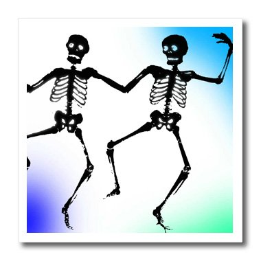 3dRose ht_56183_2 Dancing Skeletons-Spooky Fun Art-Halloween-Iron on Heat Transfer Paper for White Material, 6 by 6-Inch