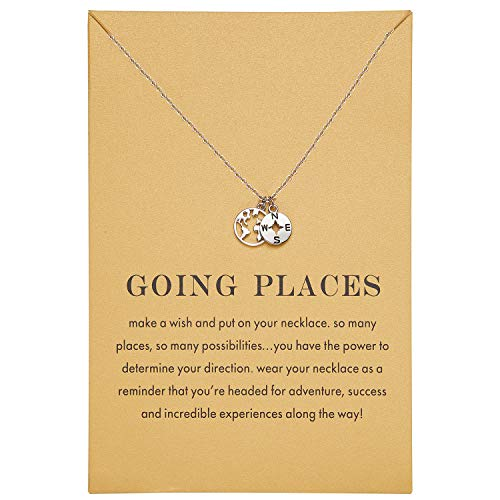 Zealmer Simple Compass and World Map Pendant Necklace Journey Graduation Gift for Women White Gold Plated
