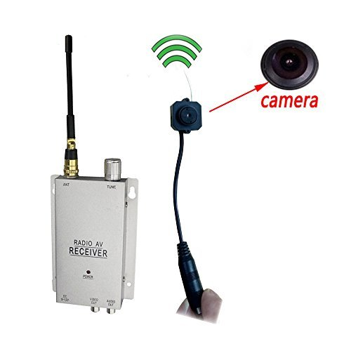 Podofo Wireless Security Camera with Receiver Pinhole Micro Cam Complete Surveillance System CCTV Camera (Cmos Kit Pinhole Camera)